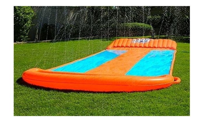 Inflatable Water Slide Triple Pool Kids Park Backyard Play Bath Toys