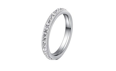 Small CZ Surround Titanium Stainless Steel Rings For Women d730e6ad-d15f-43e5-9480-c4446c138655
