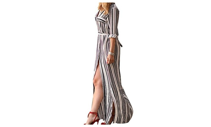 Blooming Jelly Women's Long Sleeve Striped Shirt Dress