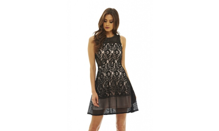 ad72af2713 AX Paris Women s Mesh and Lace Skater Dress ...