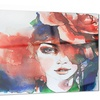 Woman with Rose Illustration Abstract Metal Wall Art 28x12