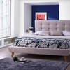 Jonesy Scandinavian Style Mid-century Fabric  Upholstered King Size Platform Bed