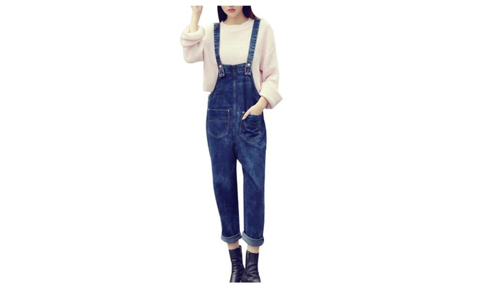 Women's Simple Casual Mid Rise Overalls PullOnStyle Jeans