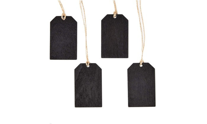 24pcs Mini Wooden Chalkboard Tag Labels with String for Gifts Boxes DIY Crafts