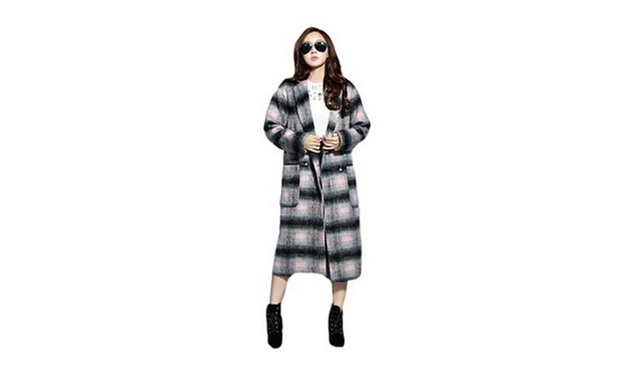 Women's Slim Long Plaid Turn-down Collar Autumn Winter Wollen Coat