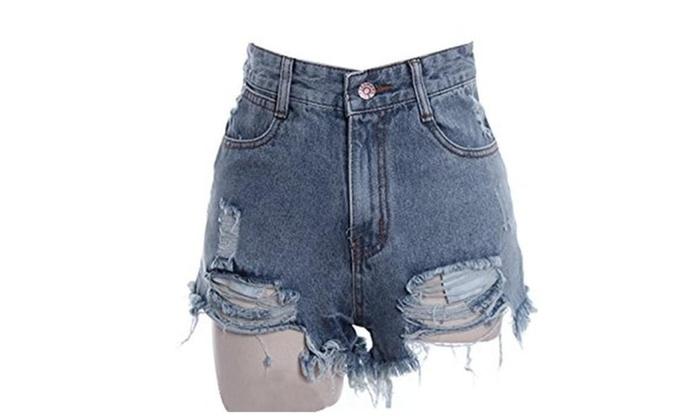 Women's Punk Rock Vintage Grunge Hole Retro Shorts Jeans - Blue / US 8-10