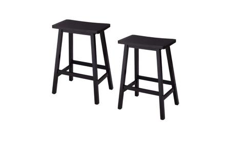 Black Practical 2pcs Pine Wood Saddle Seat Bar Stool - 0b4eee64-5c2a-438f-94aa-5bc5deae12b9