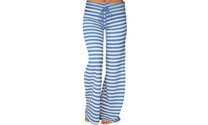 Las Fashion Stripe Wide Legs Tie High Waist Palace Yoga Pants