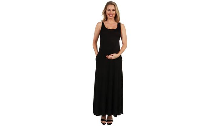 e4a5d3db1a78 24Seven Comfort Apparel Marion Sleeveless Maternity Maxi Dress | Groupon