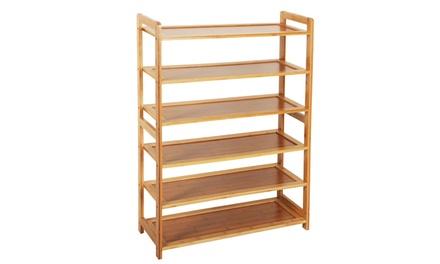 6 Tier Bamboo Shoe Rack Entryway Shoe Shelf Holder Storage Organizer Was: $37 Now: $28.50.