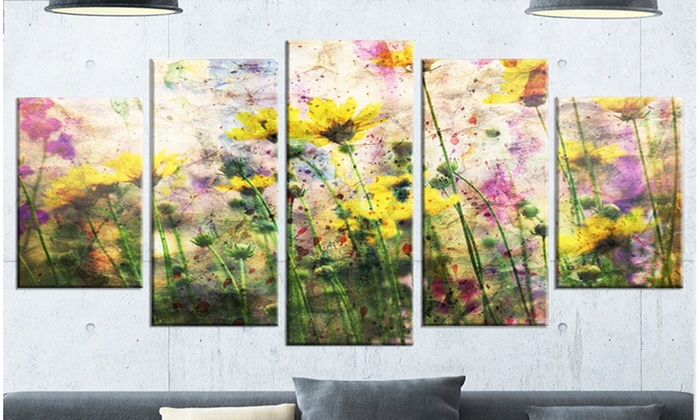 Flowers and Paint Splashes - Flower Artwork on Large 5 Panel Metal ...