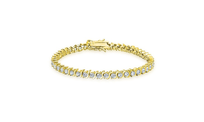 Round Cz Gold Plated 925 Silver