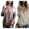 Women's Knitted Deep V-Neck Long Sleeve Front Loose Sweater Pullover