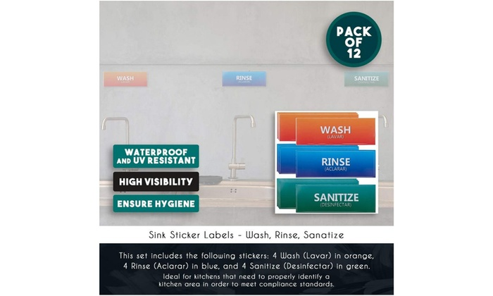 picture relating to Wash Rinse Sanitize Printable Signs named 12-Pack Clean Rinse Sanitize Labels for 3 Compartment Sink