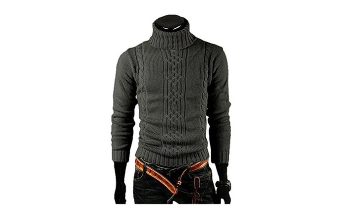 Men Casual Turtleneck Shirt Sweater
