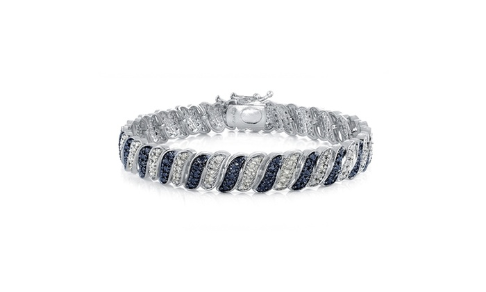 1 00 Carat Blue & White Diamond Wave Link Tennis Bracelet