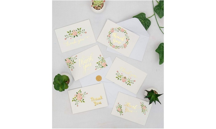 6 Elegant Rose Flower Designs with Gold Foil Print Bulk Thank You Notes for Wedding White Envelopes Included Thank You Cards 4 x 6 Inches Baby Shower 48-Count Thank You Greeting Cards