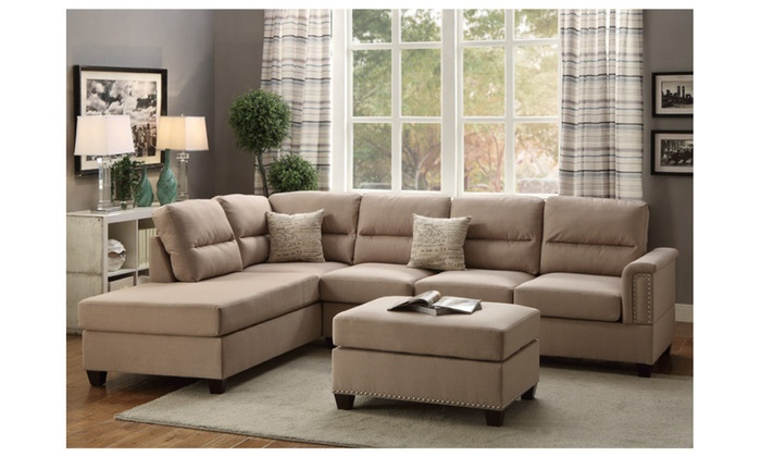Modern Sectional Sofa Couch Reversible Chaise Ottoman Trim Polyfiber ...
