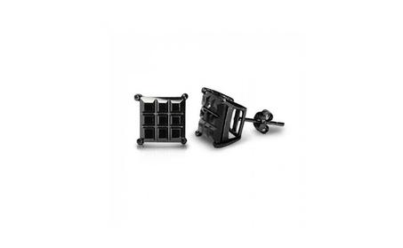Bling Jewelry Mens Silver CZ Basket Set Cut Black Stud Earrings b229431c-2152-4c29-8216-80c9cd4dba5c