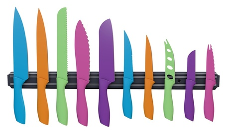 Classic Cuisine 10 Piece Multi Colored Knife Set with Magnetic Bar 082ca895-c571-4a4d-a801-467476537fe3