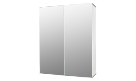 Mirrored Doors Bathroom Cabinet Wall Mount Medicine Cabinet with Shelves White
