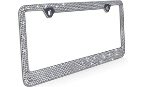 Metal License Plate Frame with Glitter Bling Rhinestone Diamonds