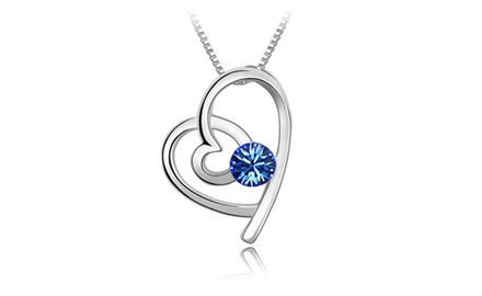 KATGI 18K White Gold Plated Austrian Crystal Love of Heart Pendant Necklace