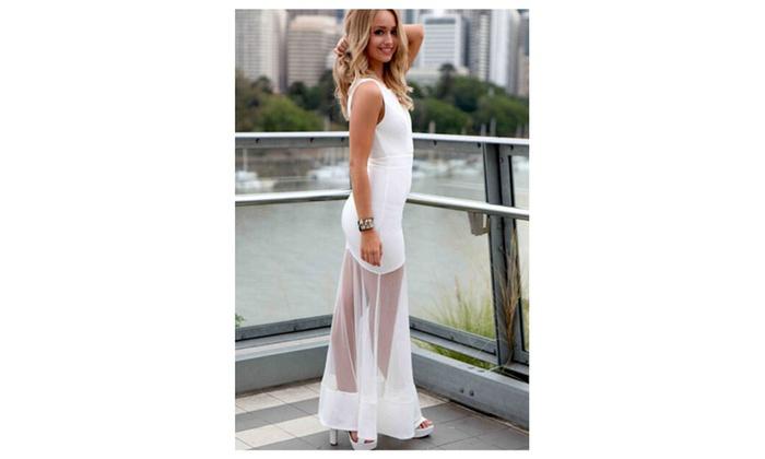 Women's White Sheer Mesh Spliced Maxi Dress - White / one size