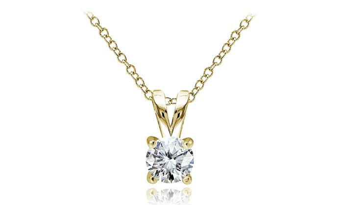 Groupon Goods: Yellow Gold Flashed Sterling Silver Cubic Zirconia 5mm Round Solitaire Necklace