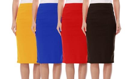 Women's Elastic High Waist Stretch Comfy Office Work Wear Solid Midi Skirt S-3XL