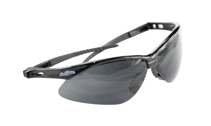 Ridgeline Safety Glasses - Black frames lens - 12 Pack
