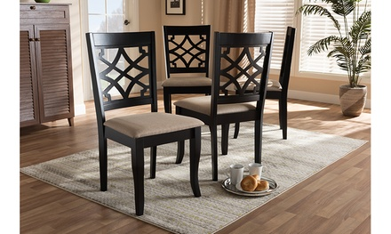 Mael Fabric Upholstered Brown Wood Dining Chair (Set of 4)