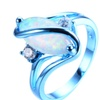Vintage White Fire Blue Gold Opal Ring for Women