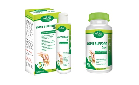 Naturez Ayurveda Joint Pain Support Kit- Rubbing oil & Capsule - 60 Days Supply