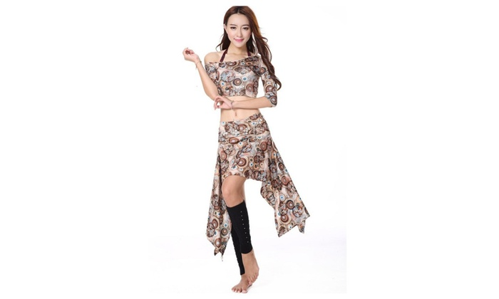 2pcs Lady Printing Belly Dance Costume Suits