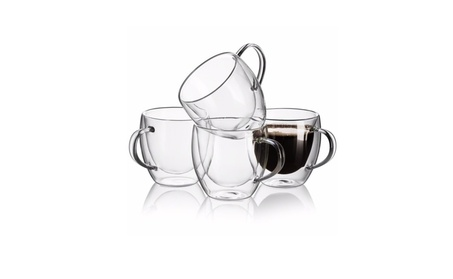 Set of 4 Strong Clear Glass Double Wall Coffee Mug Tea Espresso Cup 21436848-e2e9-4740-bbd5-9653ae18db22