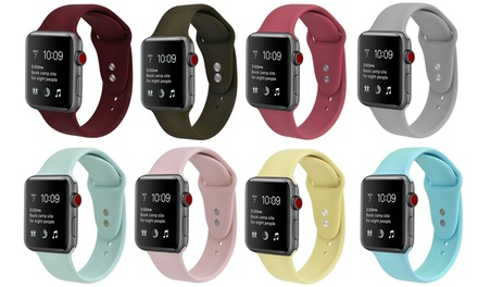 Silicone Sport Replacement Band for Apple Watch Series 1, 2, 3, 4, 5, 6, & SE