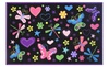 Black Multi Color Hearts and Butterfly Pattern Kids Area Rug Carpet