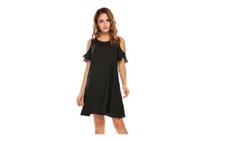 Hollow Out Off Shoulder Dresses Back Button Free Ruffles Short Dress 63775c3b-4e92-48b3-b502-175c9f751f16