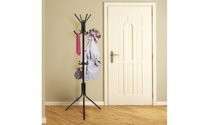 Metal Coat Rack with Hangers for Handbags and Umbrellas
