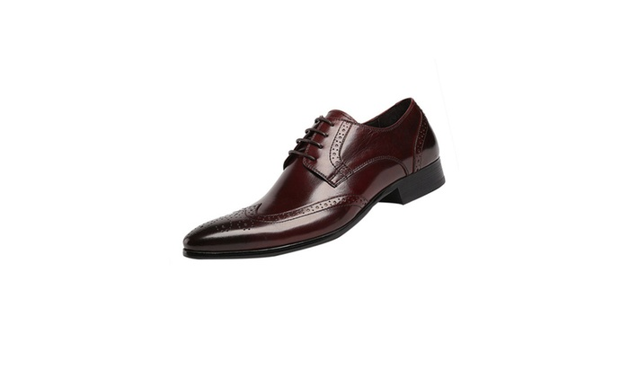 Shefetch Men's Round Toe Dress Leather Shoes