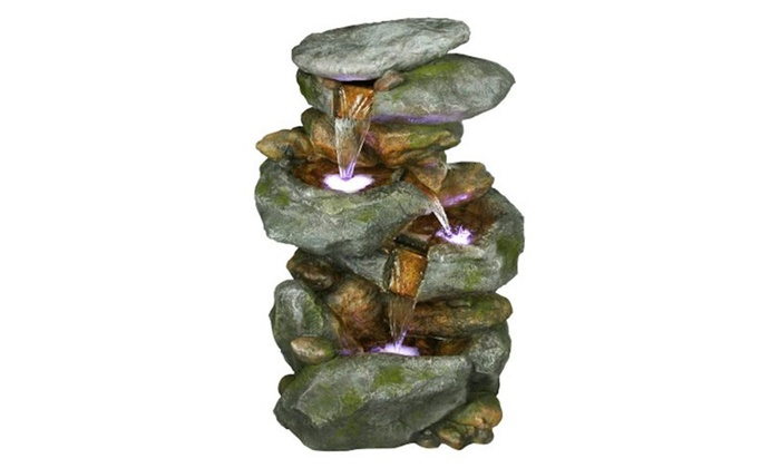 """Discounts R Us: 22"""" Rock Waterfall Fountain with LED Lights"""