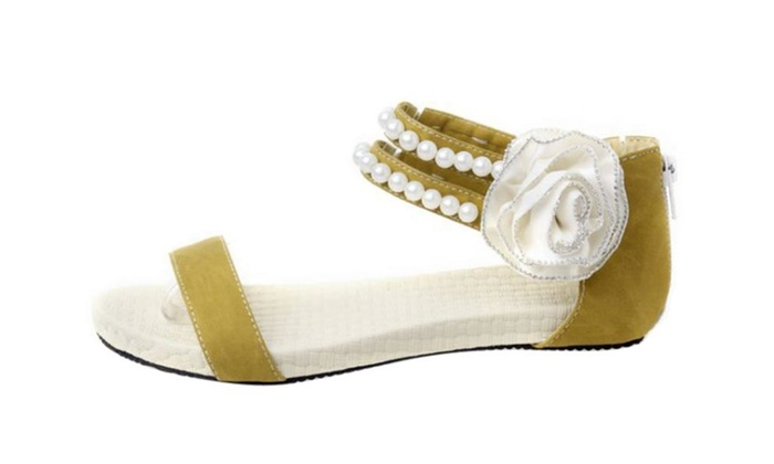 Womens Open Toe Flat PU Sandals with Bead and Flower
