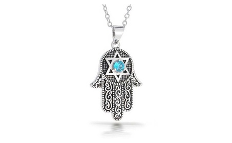 Bling Jewelry CZ Star of David Hamsa Pendant Necklace Rhodium Plated 9c499831-bebf-4f05-82f6-c111bf194aab