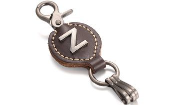 Mio Marino Men's Single Letter Alphabet Brown Leather Keychain with Easy Clasp