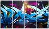 Blue Purple Graffiti - Abstract Street Art Canvas Print