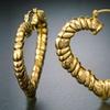 18K Gold Plated Heart Shaped Bamboo Hoop Earrings By Euphir