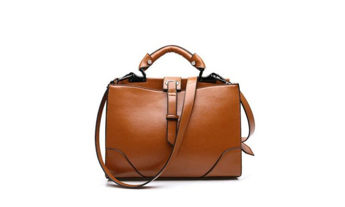 Womens PU Leather Top-Handle Zipper Handbag