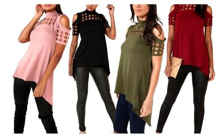 Women Hollowed Long T-Shirt Irregular Blouse Off Shoulder Club Tops b74dc99a-29f4-4d1f-807b-75673ac2d0dd