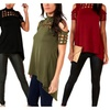 Womens V Back Fork T-shirt Off Shoulder Hollow Long Tops Casual Tee